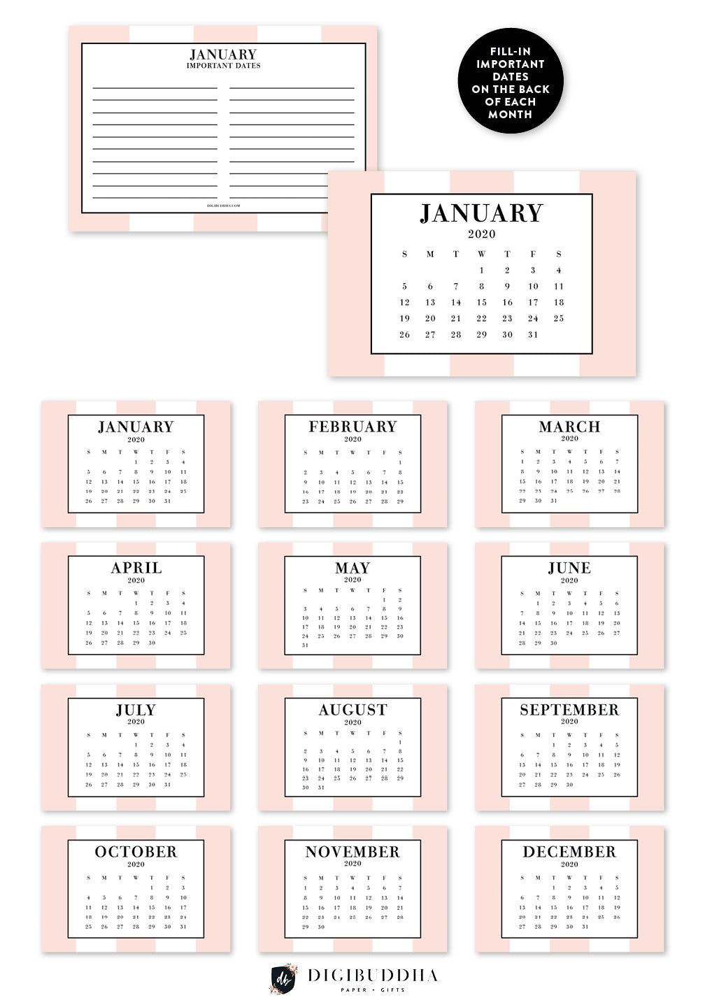 2020 Classic Blush Stripe Desk Calendar by Digibuddha | Coll. 21