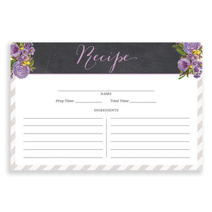 Floral + Stripe Recipe Cards |  Leah Gray Purple