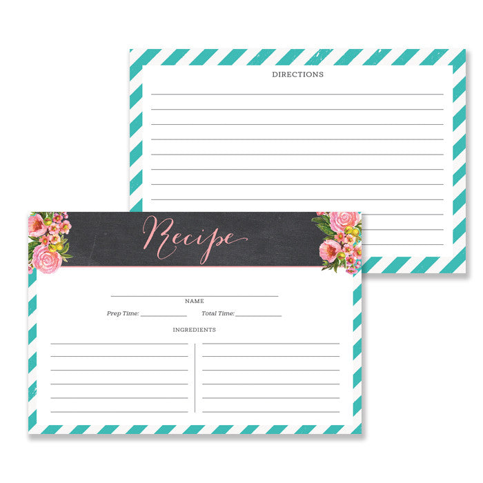 Floral + Stripe Recipe Cards |  Leah Teal