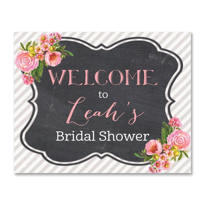 pink bloom and gray striped chalkboard style bridal shower welcome sign from digibuddha.com