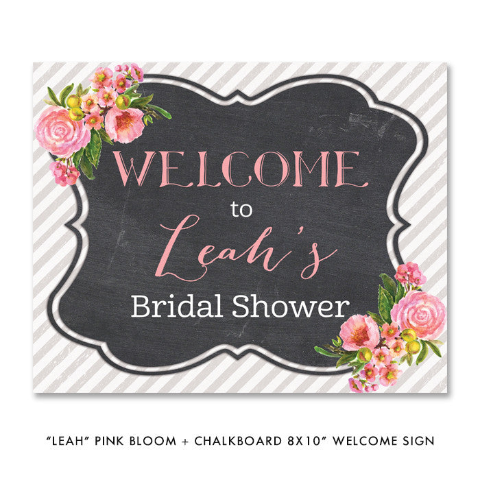 "Pink bloom + chalkboard ""Leah"" welcome party sign 