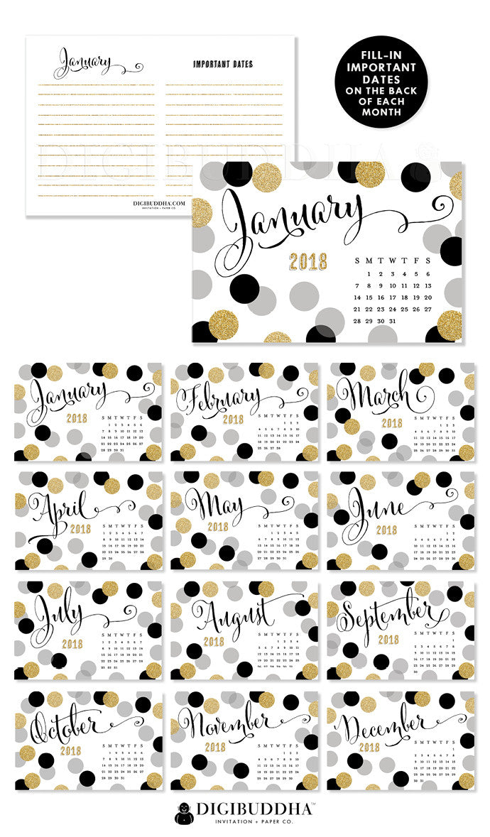 2018 Desk Calendar by Digibuddha | Leigh Black Gold