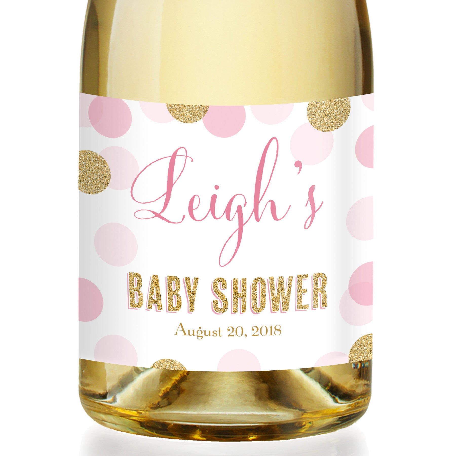 """Leigh"" Pink + Gold Glitter Dots Baby Shower Champagne Labels"