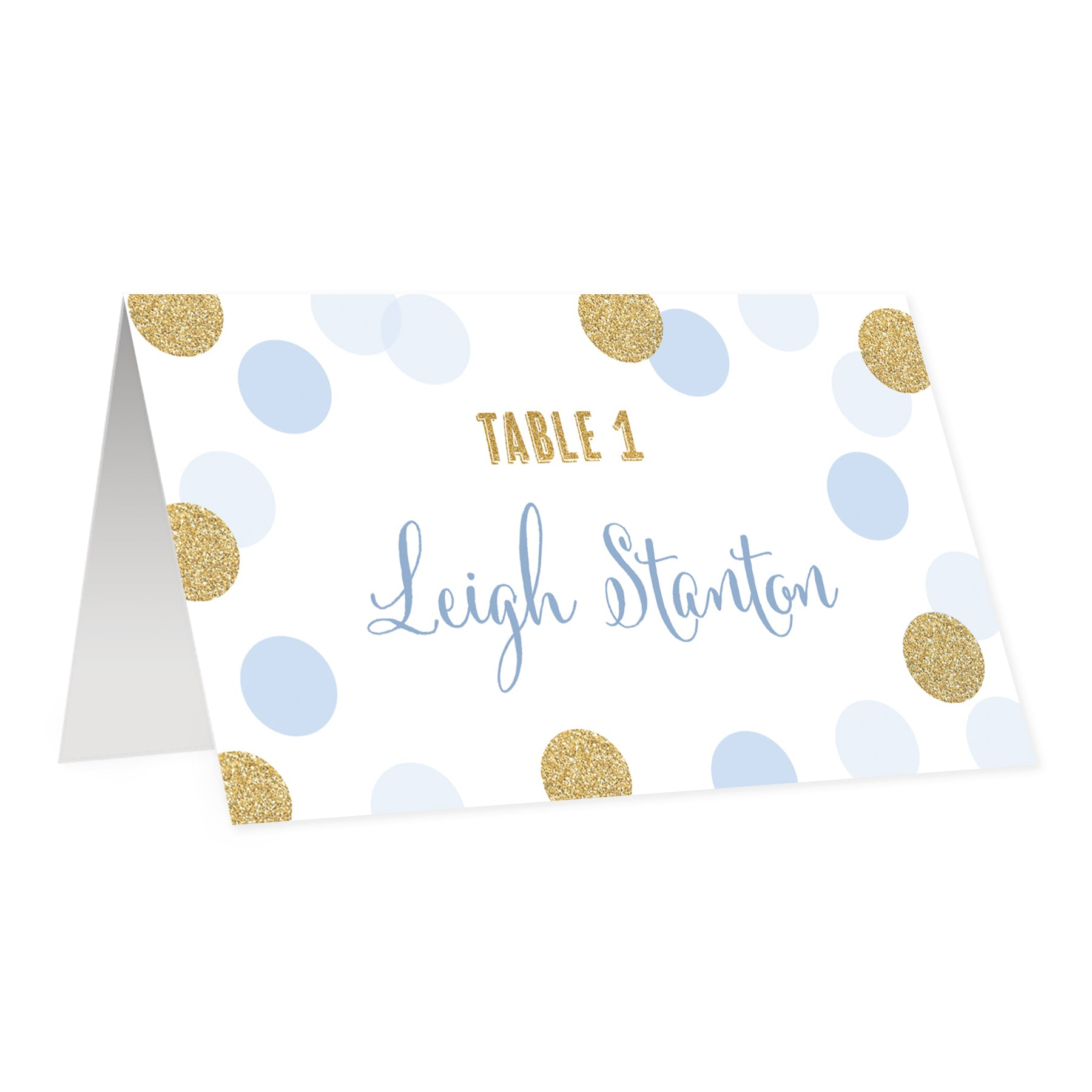 Blue + Gold Dots Place Cards | Leigh