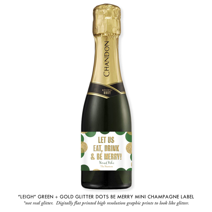 """Leigh"" Green + Gold Glitter Dots Be Merry Champagne Labels"