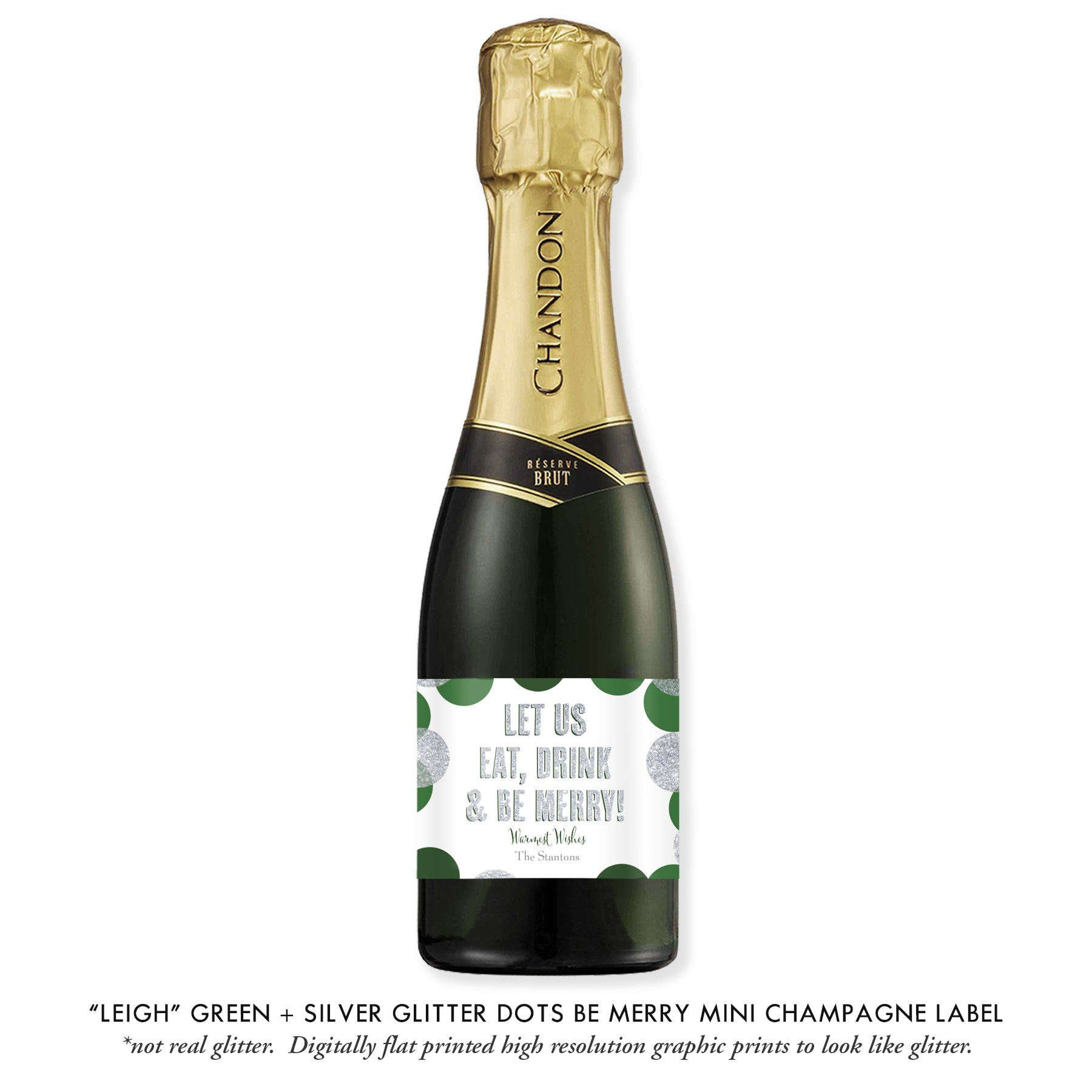 """Leigh"" Green + Silver Glitter Dots Be Merry Champagne Labels"