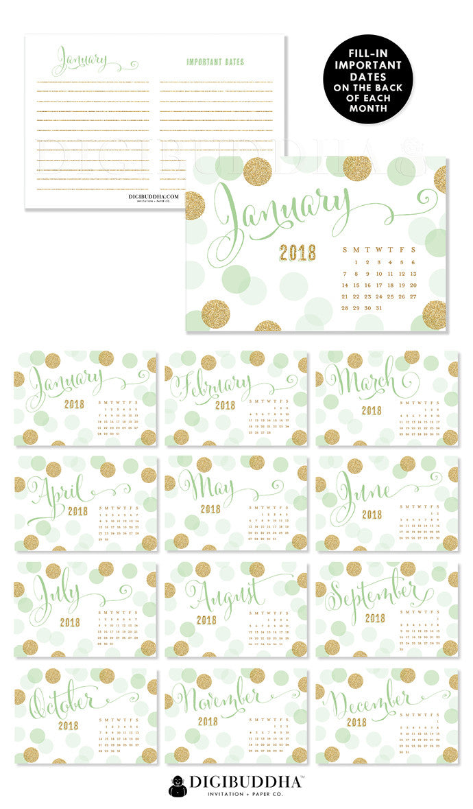 2018 Desk Calendar by Digibuddha | Leigh Mint