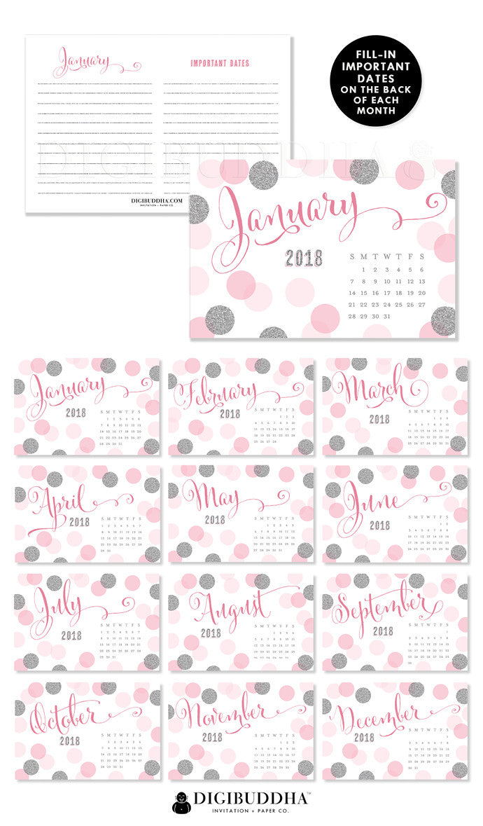 2018 Desk Calendar by Digibuddha | Leigh Pink Silver