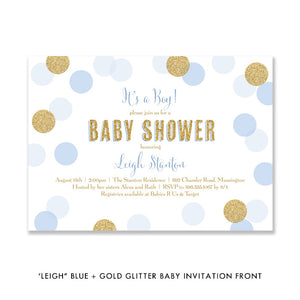 """Leigh"" Blue + Gold Glitter Dots Baby Shower Invitation"