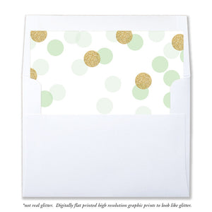 """Leigh"" Mint + Gold Glitter Dots Envelope Liners"