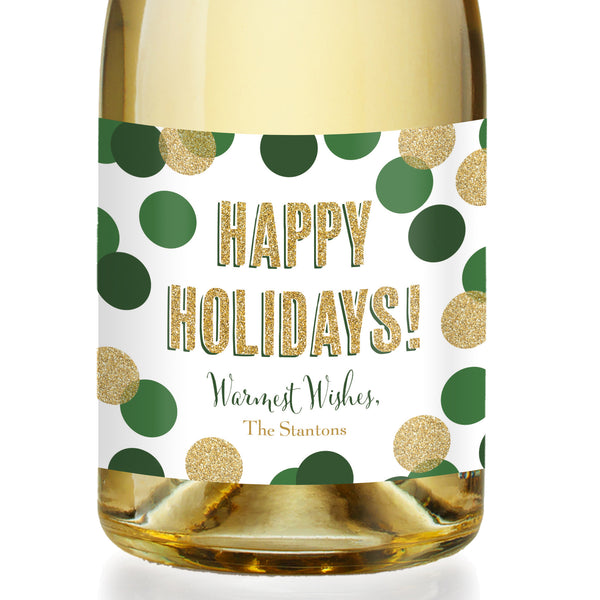 """Leigh"" Green + Gold Glitter Dots Holiday Champagne Labels"