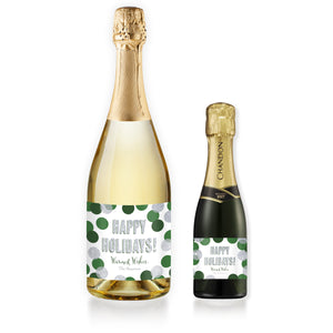 """Leigh"" Green + Silver Glitter Dots Holiday Champagne Labels"