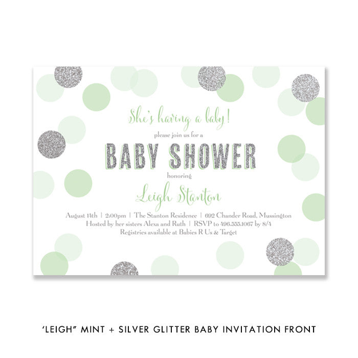 """Leigh"" Mint + Silver Glitter Dots Baby Shower Invitation"