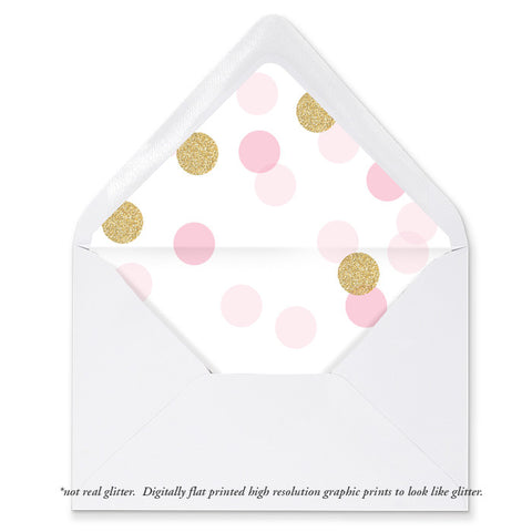 """Leigh"" Pink + Gold Glitter Dots Envelope Liners"