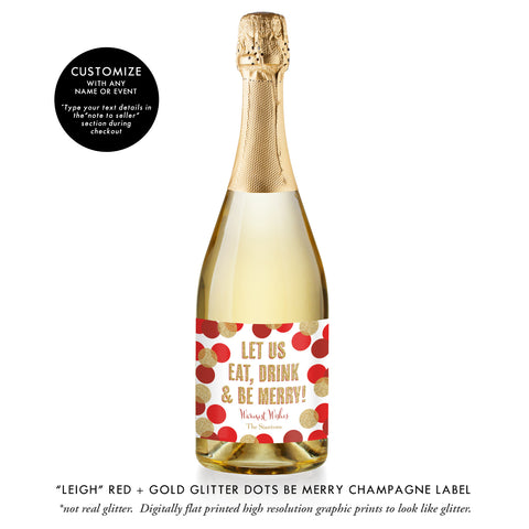 """Leigh"" Red + Gold Glitter Dots Be Merry Champagne Labels"