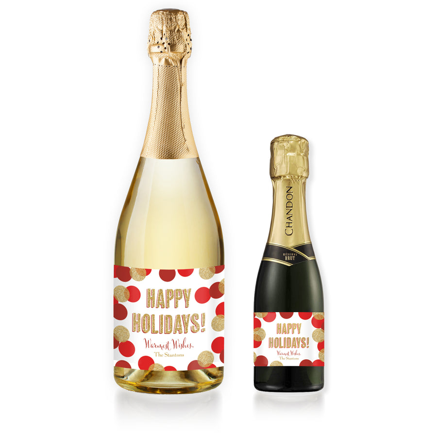 """Leigh"" Red + Gold Glitter Dots Holiday Champagne Labels"