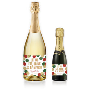 """Leigh"" Red, Green + Gold Glitter Dots Be Merry Champagne Labels"
