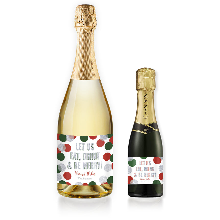 """Leigh"" Red, Green + Silver Glitter Dots Be Merry Champagne Labels"