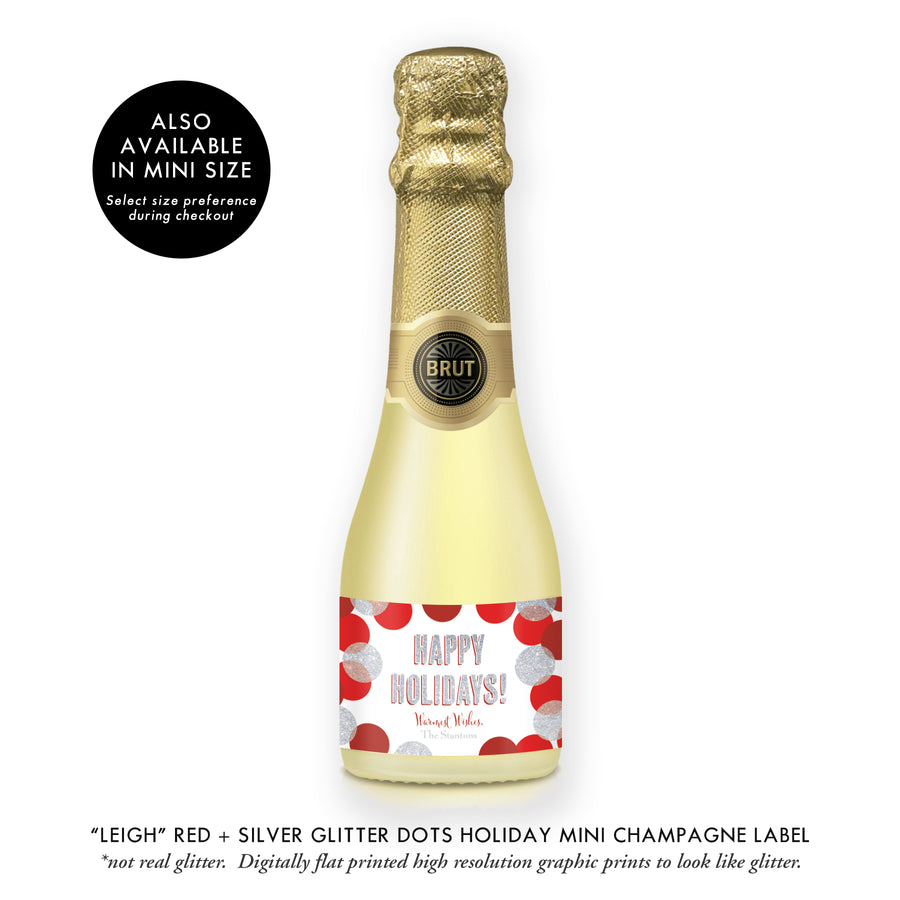 """Leigh"" Red + Silver Glitter Dots Holiday Champagne Labels"