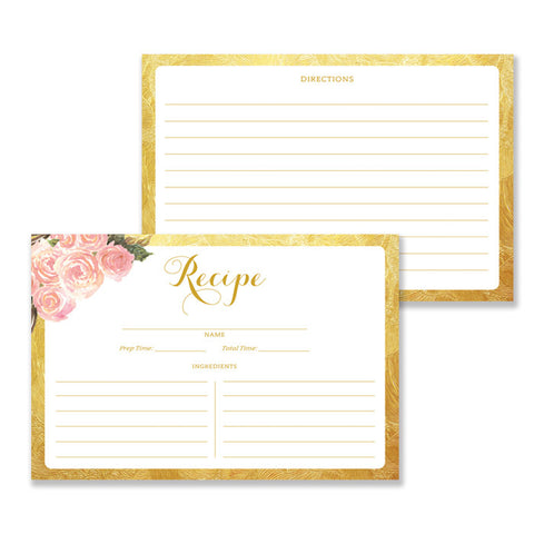 Blush Pink + Gold Recipe Cards  |  Leona