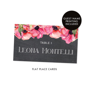 Chalkboard Place Cards with Pink Anemone | Leona