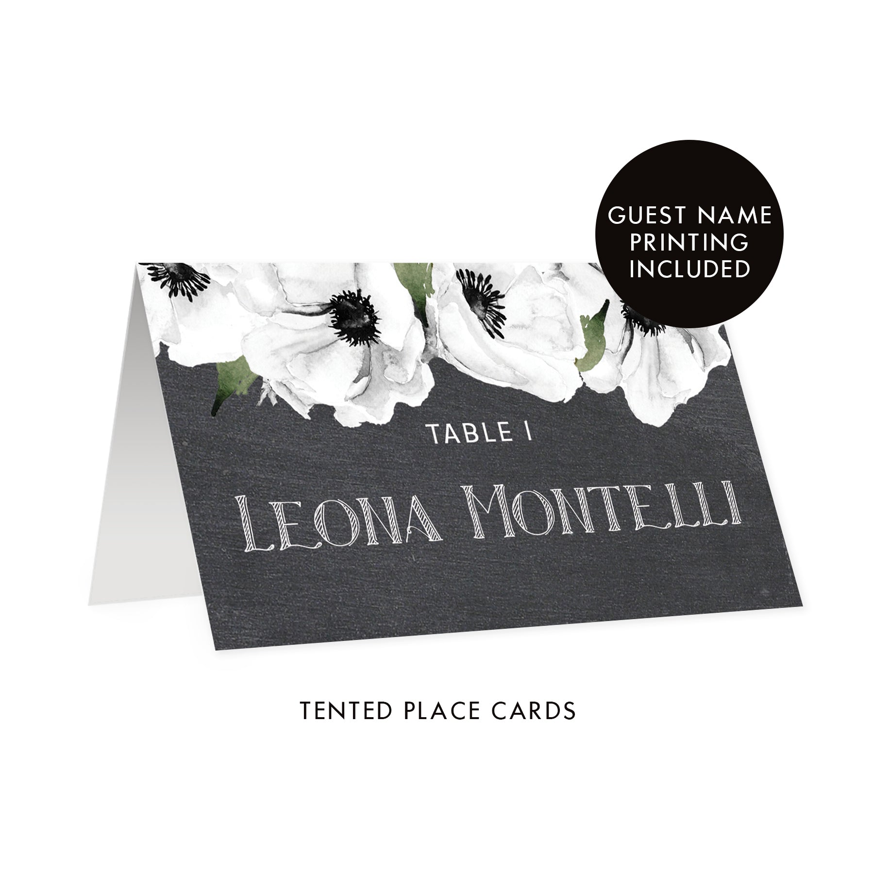 Chalkboard Place Cards with White Anemone | Leona