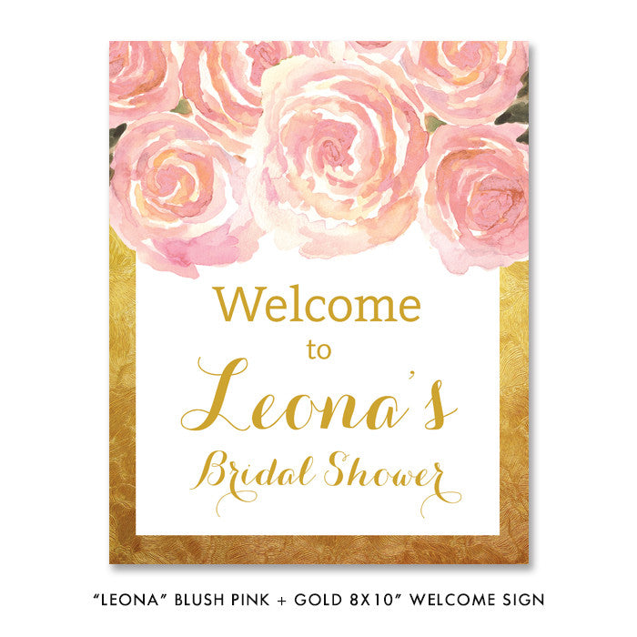 "Blush pink + gold ""Leona"" welcome party sign 