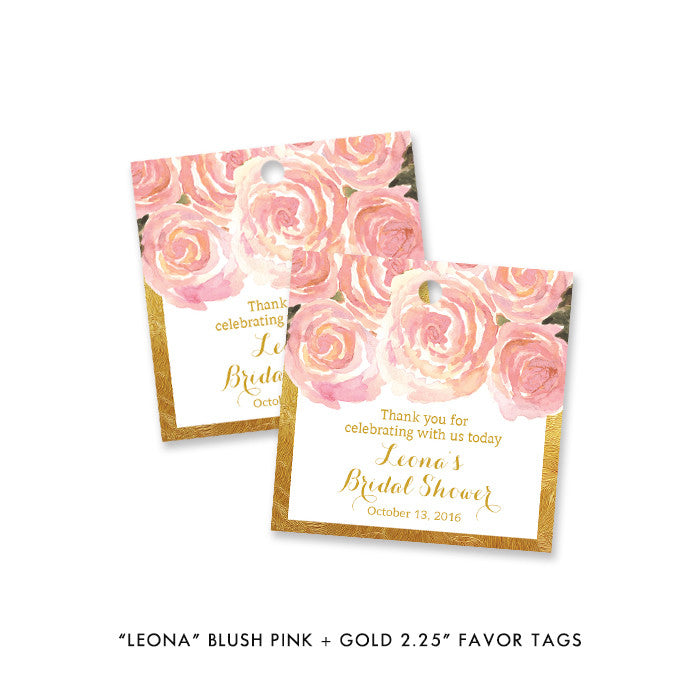 "Blush pink + gold ""Leona"" favor tags 