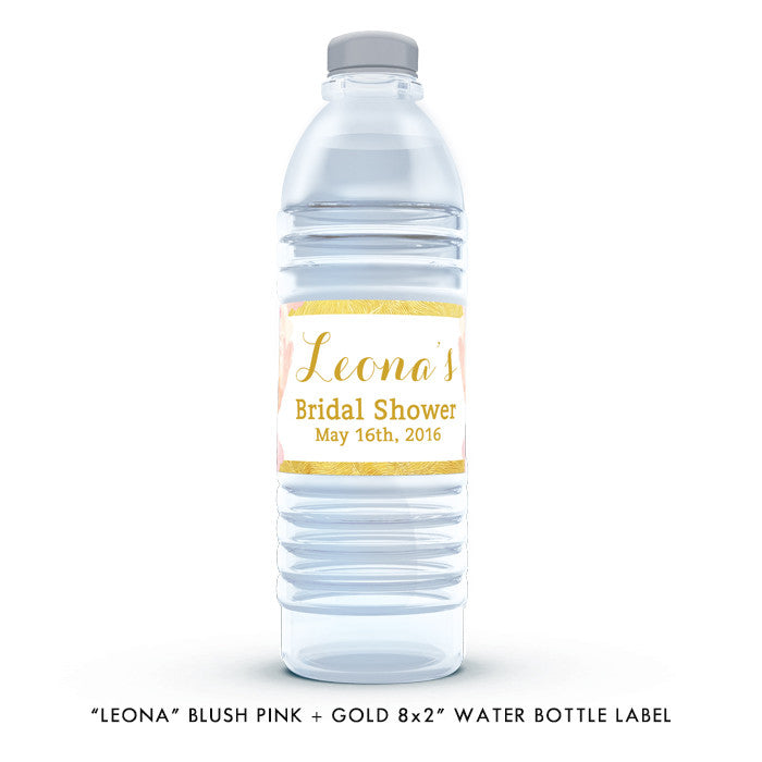 "Blush pink + gold rose ""Leona"" waterproof water bottle labels 