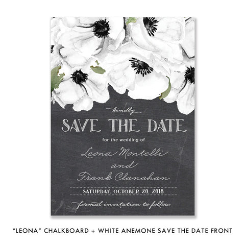 """Leona"" Chalkboard + White Anemone Save The Date Card"