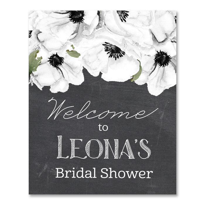 Leona rustic chalkboard style white anemone boho floral bridal shower welcome sign by digibuddha.com
