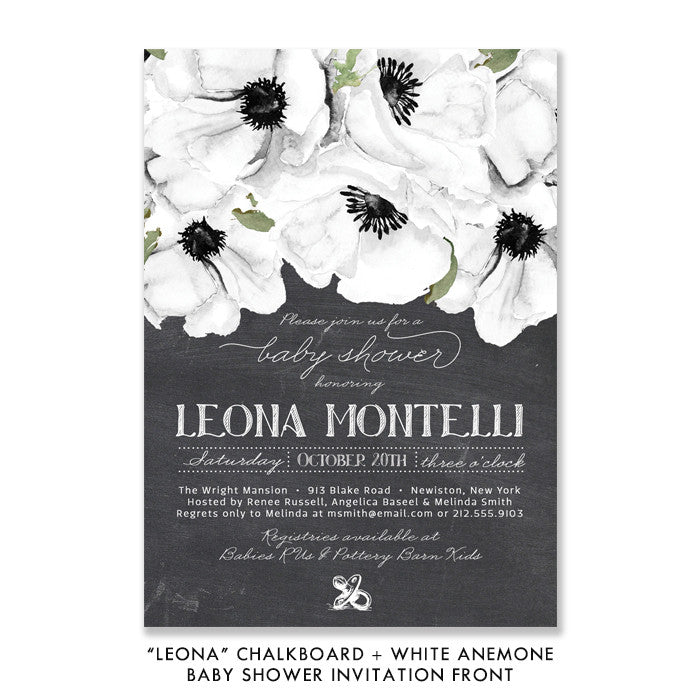 """Leona"" Chalkboard + White Anemone Baby Shower Invitation"