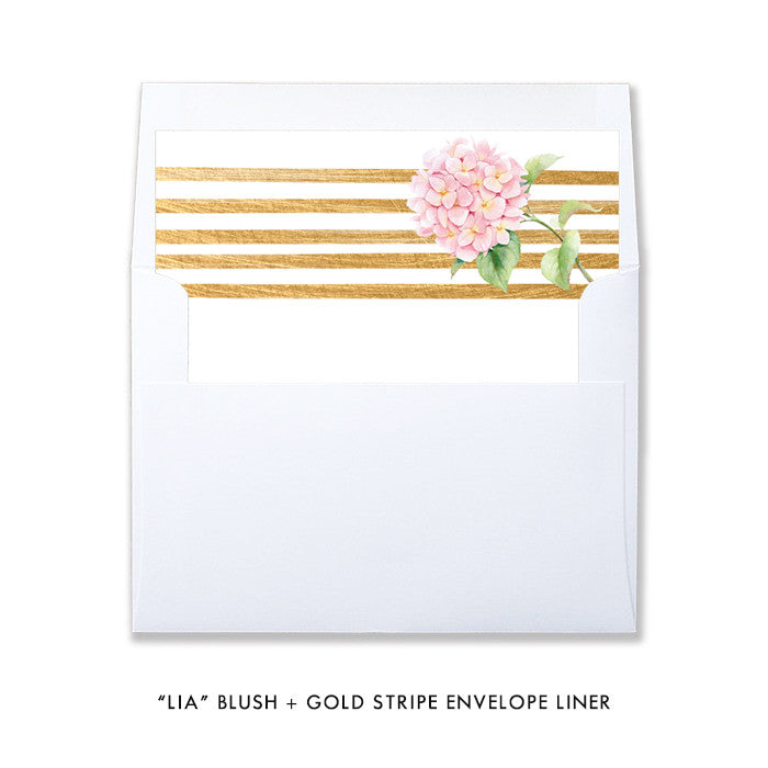 """Lia"" Blush + Gold Stripe Baptism Invitation"