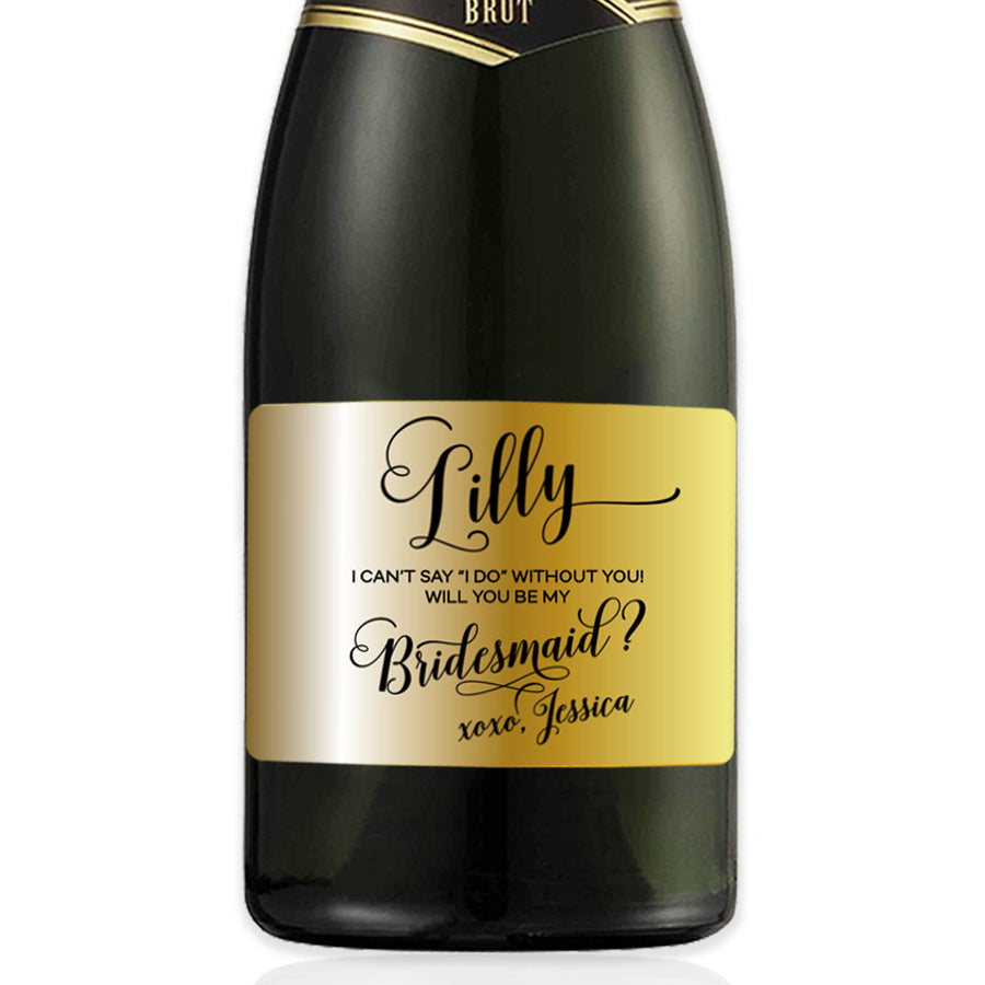 """Lilly"" Bridesmaid Proposal Gold Foil Mini-Champagne Label"