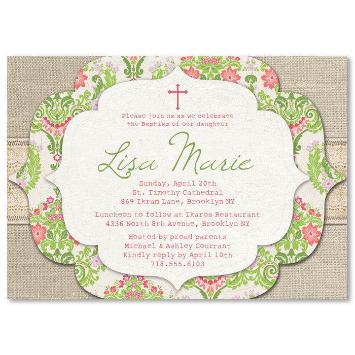 """Lisa"" Pink + Green Damask Baptism Invitation"