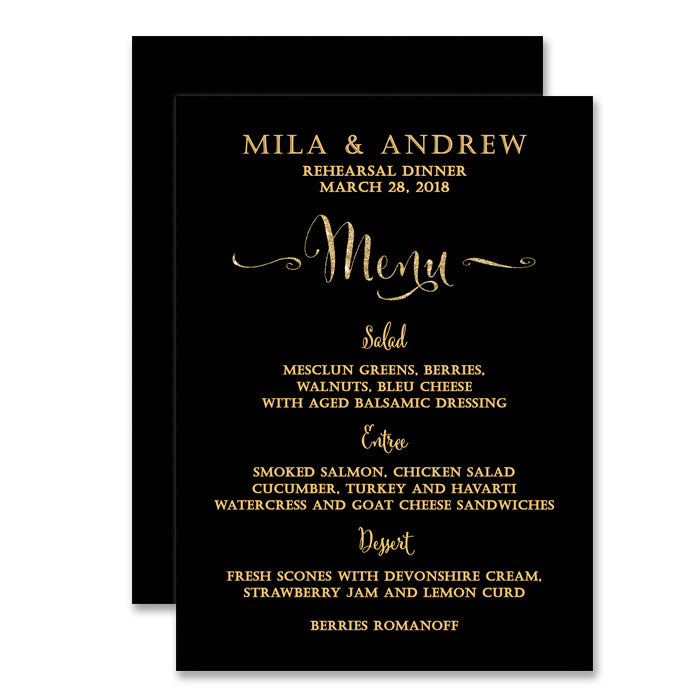 Black Gold Rehearsal Dinner Menu