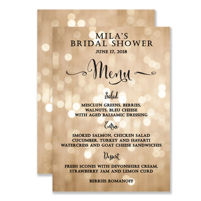 """Mila"" Champagne Bokeh Bridal Shower Menu"