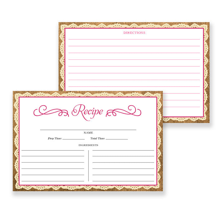 Lace Recipe Cards |  Madison Fuchsia