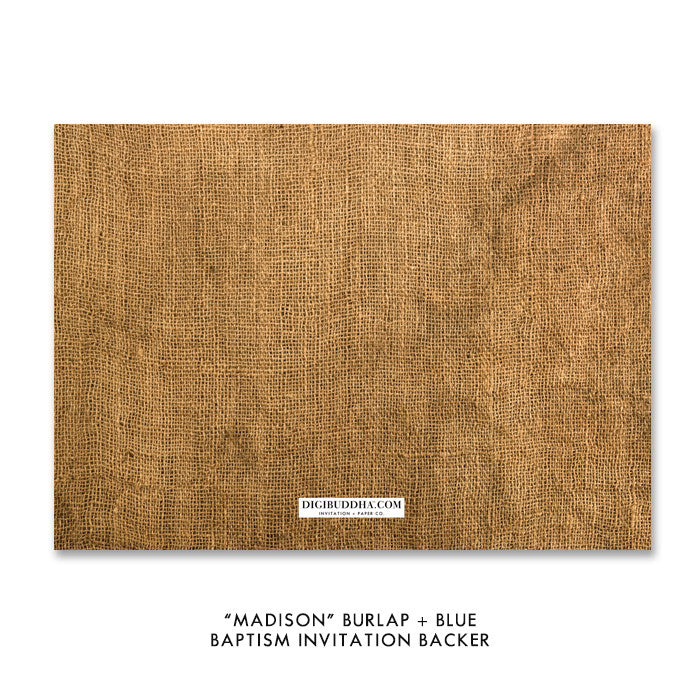 """Madison"" Burlap + Blue Baptism Invitation"
