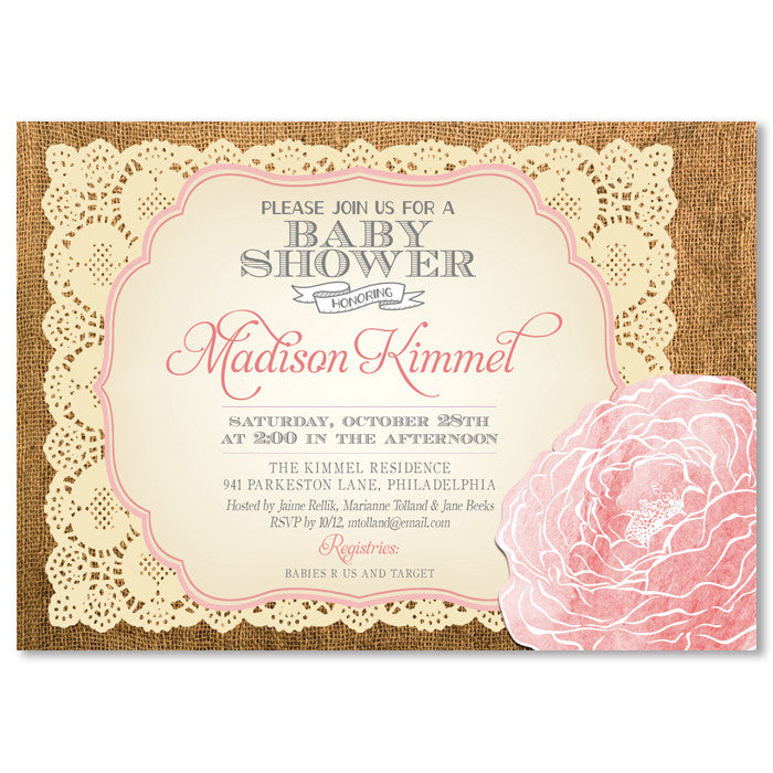 """Madison"" Burlap + Blush Rose Baby Shower Invitation"