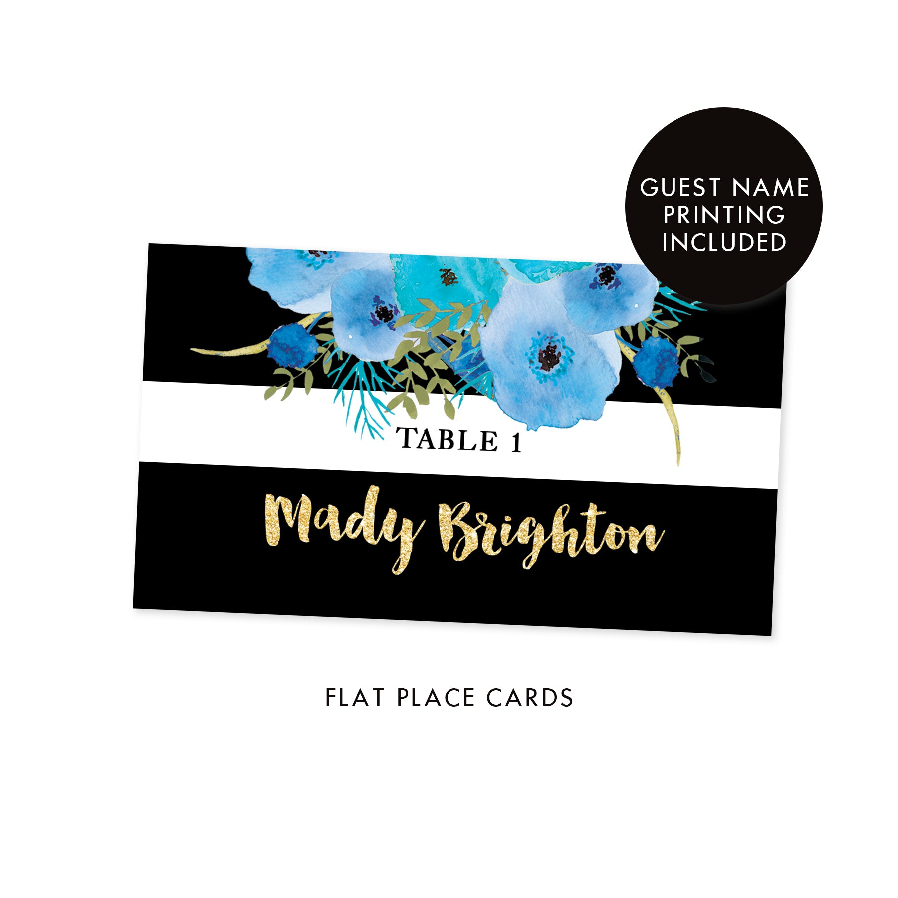 Black + White Striped Place Cards with Blue Flowers | Mady
