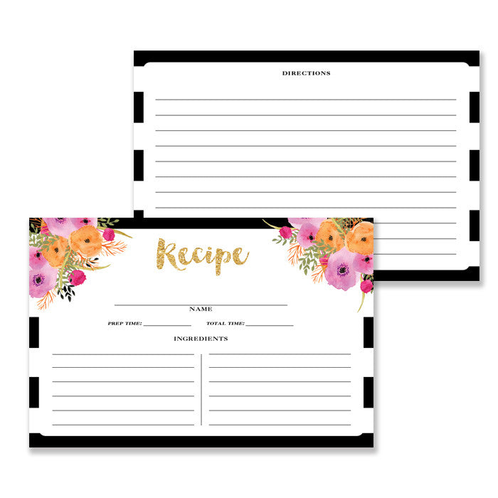 Floral + Stripe Recipe Cards |  Mady Black