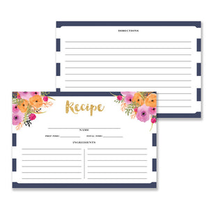 Floral + Stripe Recipe Cards |  Mady Navy