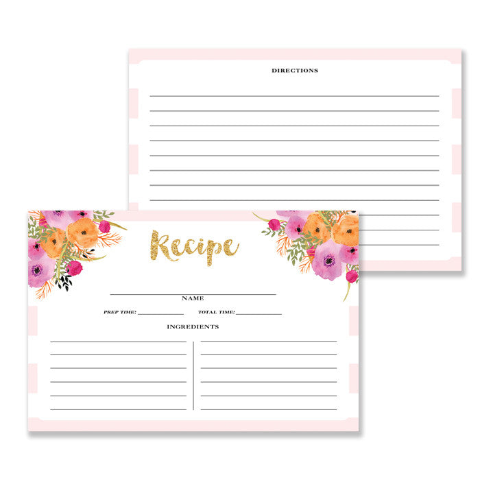 Floral + Stripe Recipe Cards |  Mady Pink