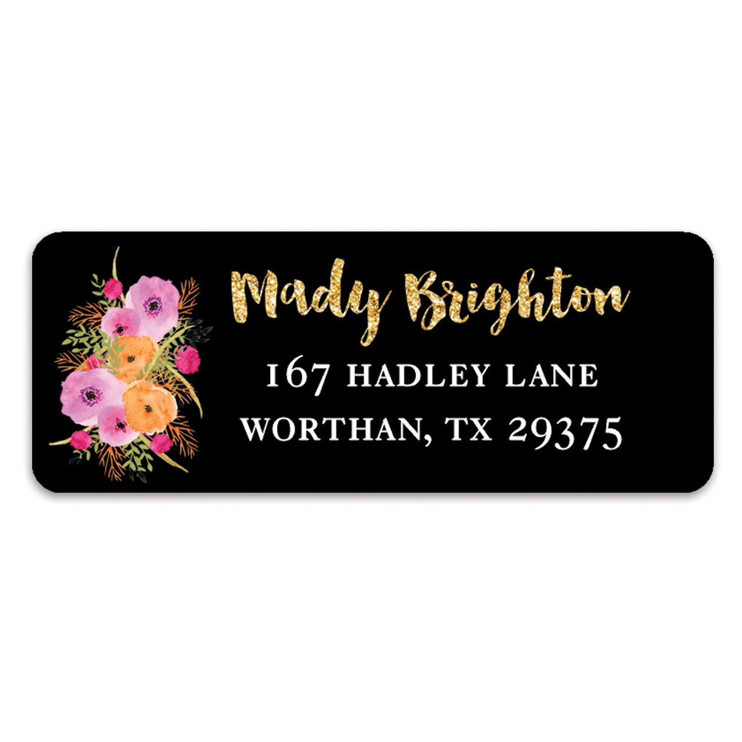 Floral and Black Address Labels | Mady