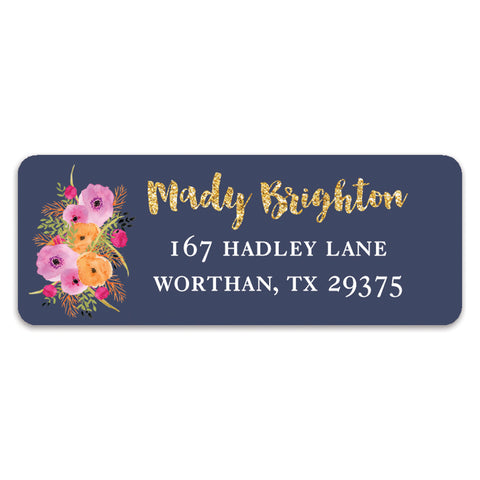 Floral and Navy Address Labels | Mady