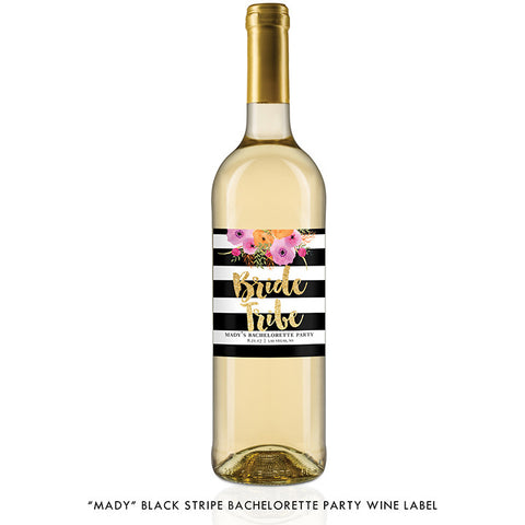 """Mady"" Black Stripe Bride Tribe Bachelorette Party Wine Labels"