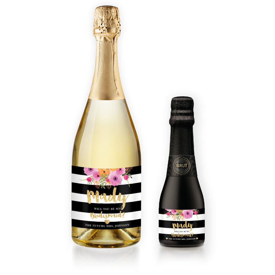 """Mady"" Floral + Black Stripe Bridesmaid Proposal Champagne Labels"