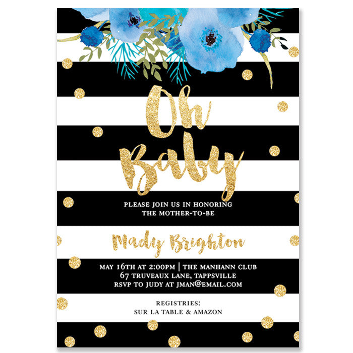 """Mady"" Oh Baby Blue Baby Shower Invitation"