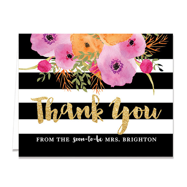 """Mady"" Black + White Stripe Bridal Thank You Card"